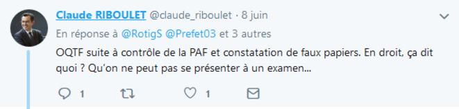 Commentaire posté le 8.06.2019. © Compte twitter @claude_riboulet