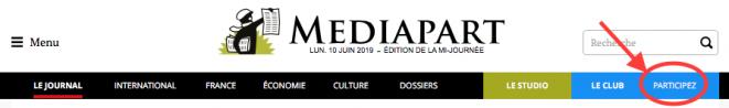 """La pestaña """"Participe"""" en la página de inicio de Mediapart."""