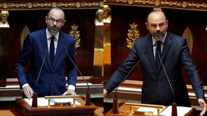 Édouard Philippe en juillet 2017 et en juin 2019 devant l'Assemblée nationale. © Mediapart