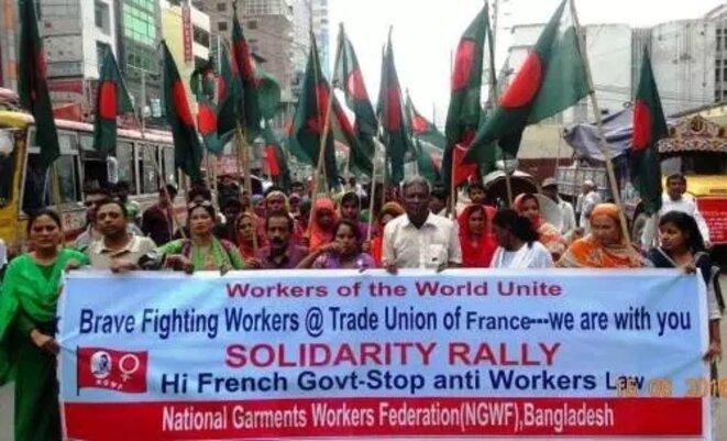 Manifestation à Dacca... pour soutenir les opposants à la loi Travail en France [Ph. DR]