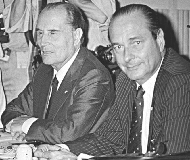 François Mitterrand et Jacques Chirac (La Haye, 1986) © Archives nationales des Pays-Bas (CC0: domaine public)