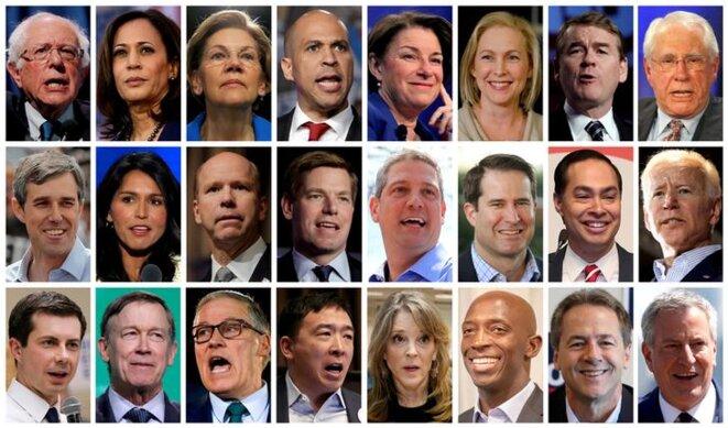 Les vingt-quatre candidats à la primaire démocrate. © Reuters