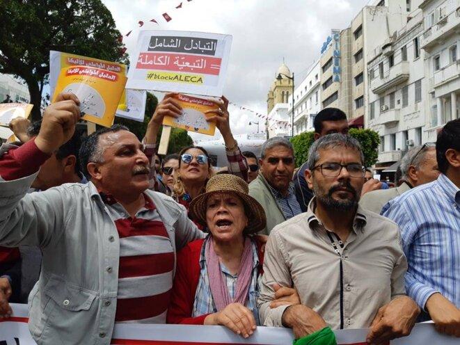 Lors de la manifestation du 1er mai à Tunis. © Compte Facebook #BlockAleca / https://www.facebook.com/BlockAleca