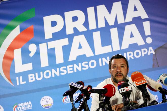 Le responsable de la Ligue, Matteo Slavini, pendant la campagne des élections européennes. © Reuters