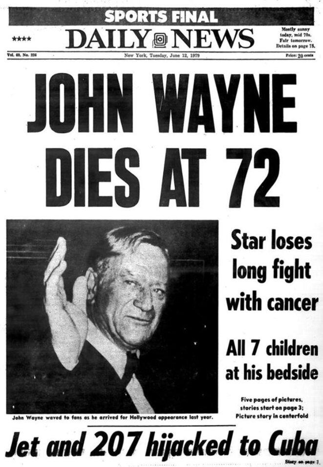 """En illustration, la """"une"""" du """"Daily News"""" du 12 juin 1979."""