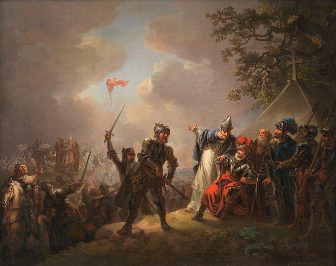 En illustration, le tableau peint en 1809 par Christian August Lorentzen (1749-1828) : il représente le moment où le Dannebrog tombe du ciel à la bataille de Lyndanisse.