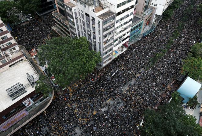 Manifestation historique dimanche 16 juin à Hong Kong. © Reuters