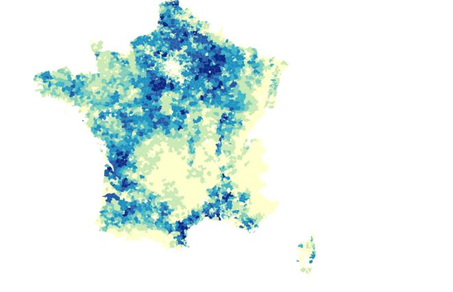 La carte de France des pesticides. © Mediapart