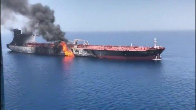 Un des pétroliers attaqués dans le Golfe d'Oman