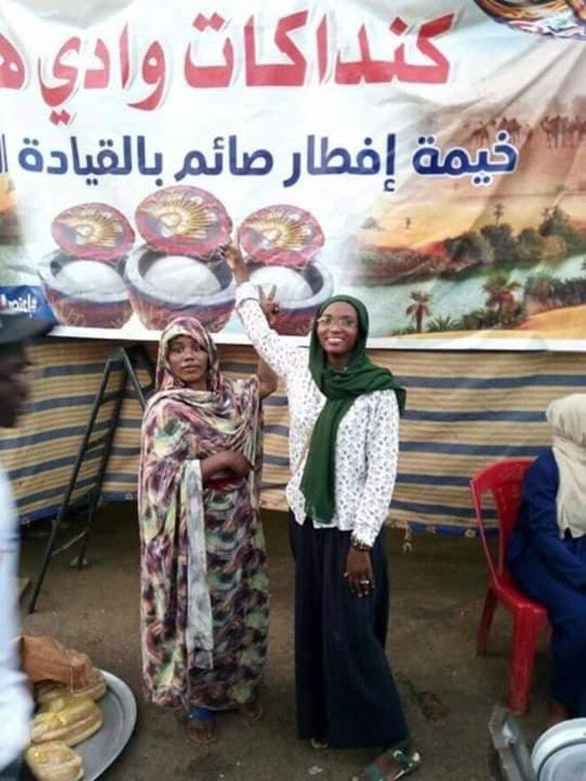 Coin des tentes des dames du Darfour (Wadi Hur) sur la place d'Al-Qyada / Réseaux sociaux.