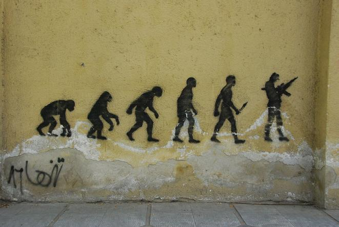 Evolution - stencil graffiti on Vali-ye-Asr Avenue in central Tehran © Paul Keller