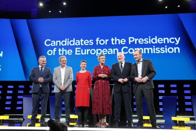 Les quatre en partant de la droite : Manfred Weber, Frans Timmermans, Margrethe Vestager et Ska Keller, lors d'un débat à Bruxelles le 15 mai 2019.
