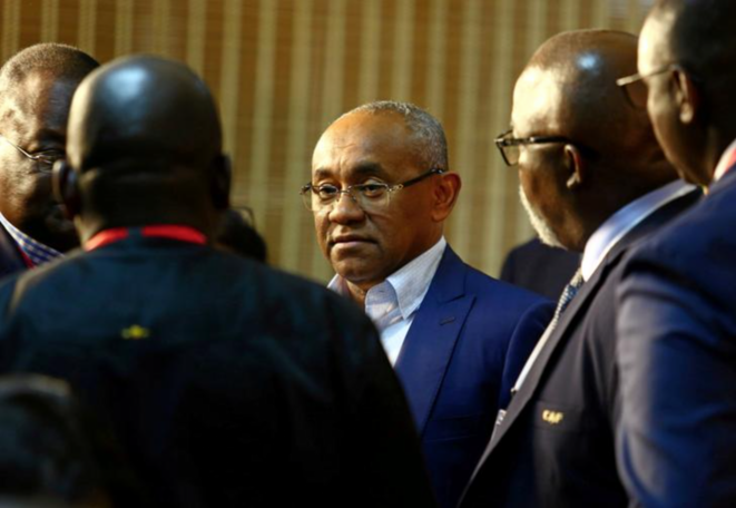 Le président de la CAF Ahmad Ahmad jeudi au Caire, juste avant la conférence de presse d'ouverture de la Coupe d'Afrique des nations. © Reuters