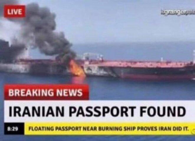 """""""Mer d'Oman : un passeport iranien a été découvert flottant près d'un pétrolier en feu"""" - Canular du Grand Soir"""