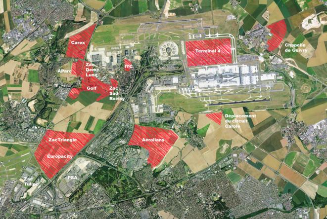 Carte des ZAC prévues autour de l'aéroport de Roissy (Scop Fair).