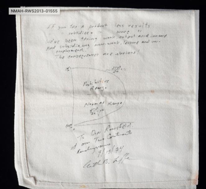 La nappe sur laquelle Arthur Laffer a tracé sa courbe en 1974. © DR