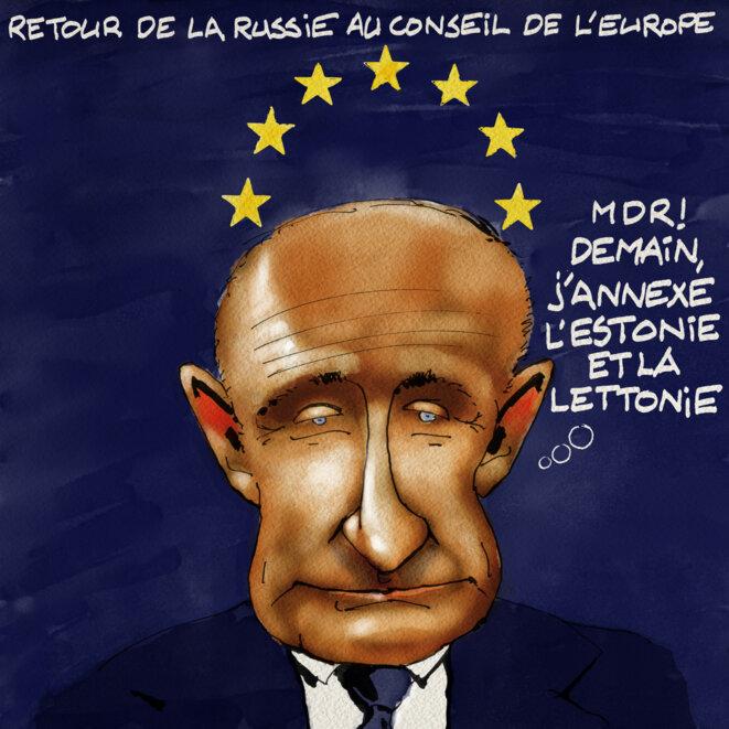Poutine et le conseil de l'Europe © Marc del Piano