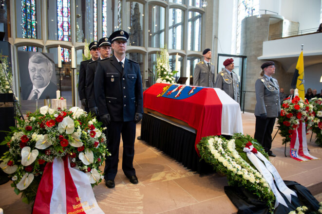 Enterrement de Walter Lübcke le 13 juin 2019 à Cassel, en Allemagne © Swen Pfoertner / Reuters.