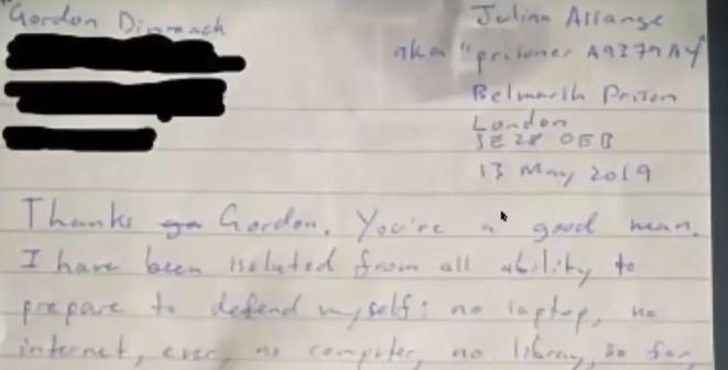 Lettre de J.Assange envoyée de sa prison Belmarsh. © Julian Assage