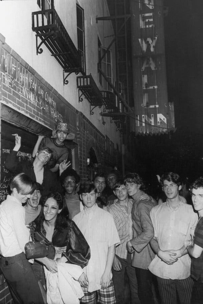 "Celebrants outside the Stonewall Inn. From ""Art After Stonewall, 1969-1989,"" at the Grey Art Gallery. © Fred McDarrah/Getty Images, via Pavel Zoubok Gallery"
