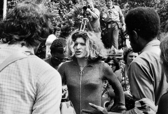 Sylvia Rivera confronting a crowd after an anti-transgender speech in 1973. © Bettye Lane Estate, via Schlesinger Library, Radcliffe Institute, Harvard University