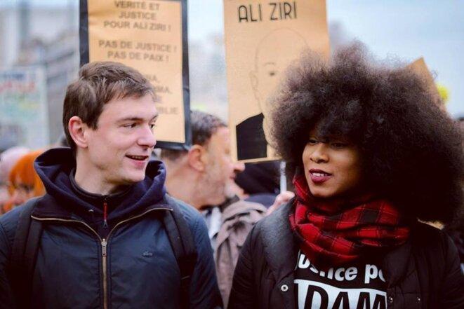 Assa Traoré et Geoffroy De Lagasnerie dans le cortège de la manifestation contre les violences policières - Paris - 2 février 2019