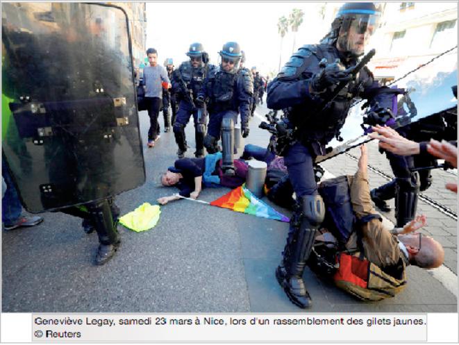 Geneviève Legay, samedi 23 mars à Nice, lors d'un rassemblement des Gilets Jaunes @Reuters © Reuters