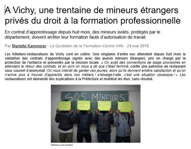 """Extrait de l'article de Mariette Kammerer, paru le 24 mai 2019 dans """"Le Quotidien de la Formation""""."""