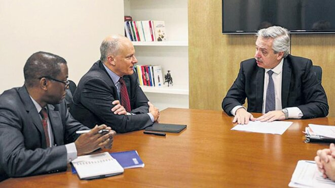 Alberto Fernandez avec Alejandro Werner (FMI) © Pagina 12