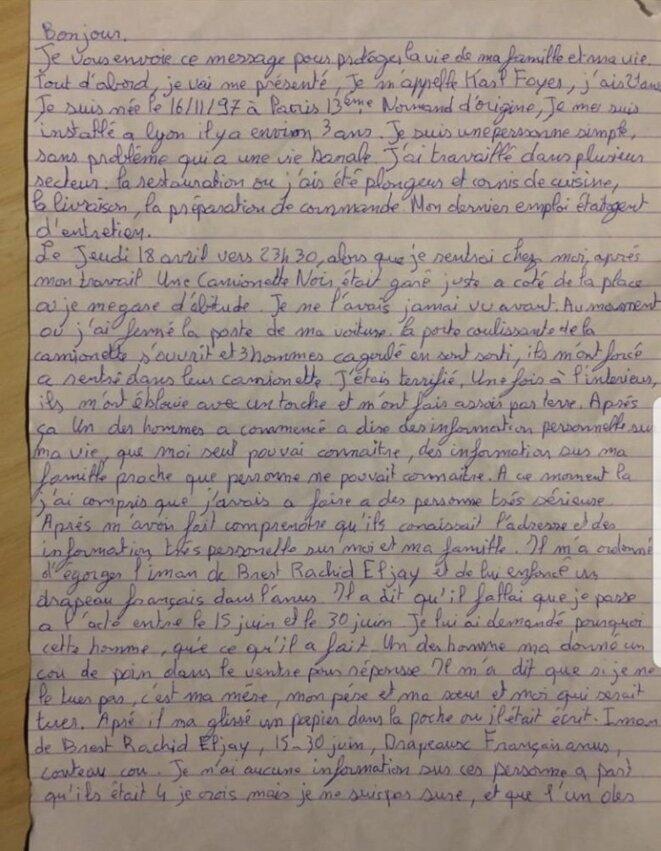 La lettre laissée par Karl Foyer
