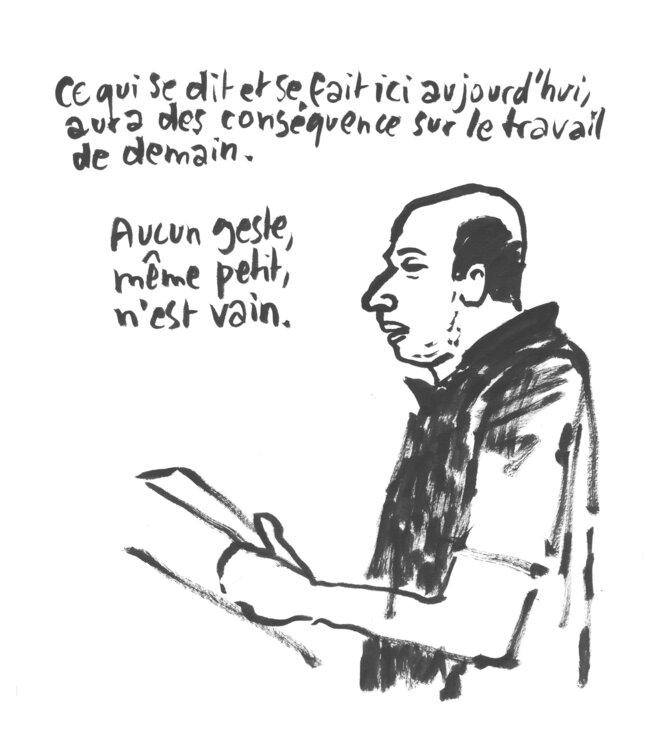 Eric Beynel proces France Télécom 28 juin 2019 © Claire Robertl
