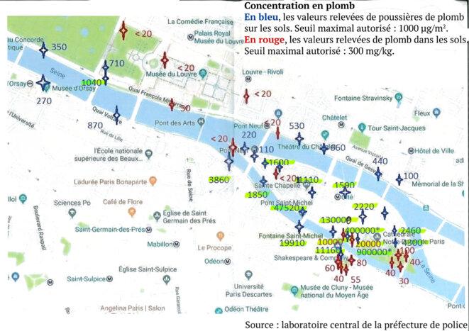 Carte des pollutions au plomb autour de Notre-Dame, résultats des prélèvements du laboratoire central de la préfecture de police de Paris, 6 mai 2019.