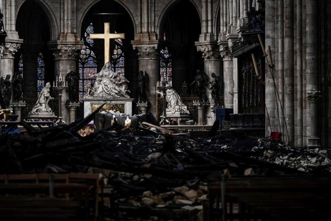 Notre-Dame cathedral after the fire in April 2019. © Reuters