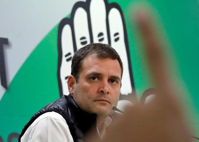 Rahul Gandhi au siège du Congrès indien, le 13 février 2019. © Reuters