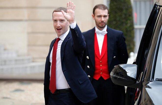 Mark Zuckerberg, patron de Facebook, arrive à l'Élysée, le 10 mai 2019. © Reuters