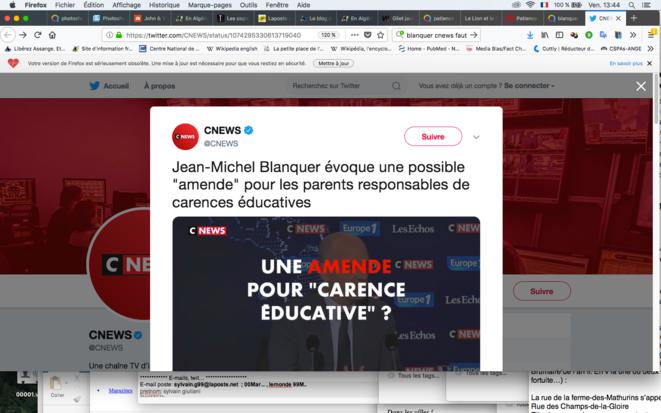 Le Ministre de l'Éducation Blanquer à Cnews, décembre 2018.