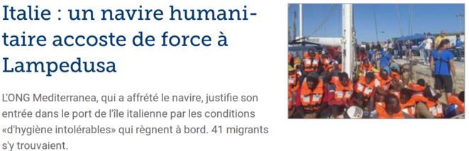 L'ONG Mediterranea, qui a affrété le navire, justifie son entrée dans le port de l'île italienne par les conditions «d'hygiène intolérables» qui règnent à bord. Une quarantaine de migrants s'y trouvaient. À son arrivée, personne n'est descendu du voilier de 18 mètres qui attendait depuis deux jours en mer.