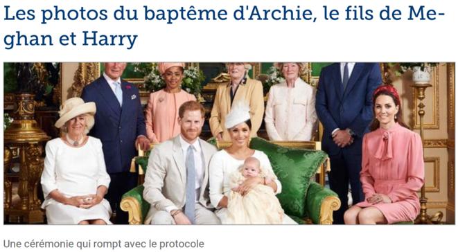 Ce samedi 6 juillet sonne le baptême du petit dernier de la famille royale britannique, Archie. Pour l'occasion, Meghan Markle et le prince Harry ont souhaité une cérémonie confidentielle, à l'abri des regards indiscrets. Tandis que Kate Middleton avait opté pour une robe rose signée Stella McCartney, Meghan Markle a une nouvelle fois privilégiée une longue robe blanche Dior. Dans la foulée, sur le compte officiel des Sussex, un adorable cliché en noir et blanc d'Archie dans les bras de ses pare