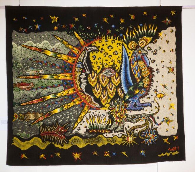 Jean Lurçat, France (1892-1966) Jubilation, 1964 Basse lisse, laine, 315 x 362 cm Atelier Raymond Picaud, Aubusson 2e Biennale de Lausanne, 1965 Cité de la tapisserie, Aubusson, inv. D.2013-1 © Photo : Éric Roger