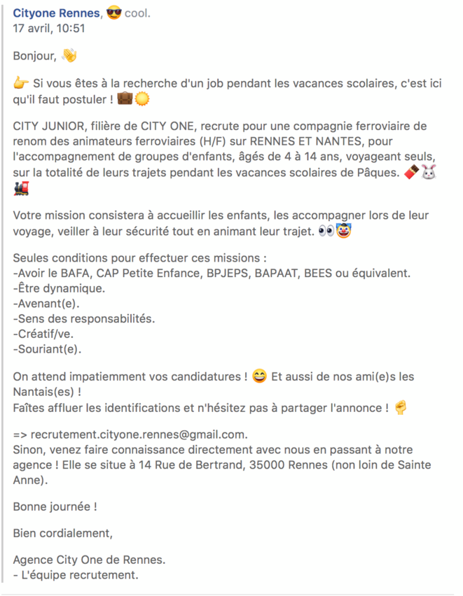 L'annonce de City One Rennes