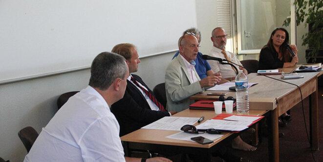 Le panel d'experts OSDEI - Philippe Padié, Nicolas Bortko, Patrick Follain, Georges Federman, Eric Fourié et Brigitte Vitale. © Eurojournalist(e) / CC-BY-SA 4.0int