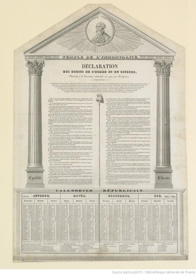 Déclaration des droits de l'homme et du citoyen présentée à la convention nationale en 1793, par Robespierre. Estampe de 1833. © Voinier fils, éditeur.