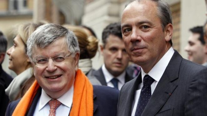 Former France Télécom boss Didider Lombard (left) with his successor, current Orange CEO Stéphane Richard. © Charles Platiau/Reuters