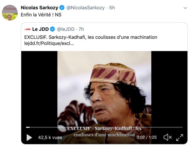 © Compte Twitter de Nicolas Sarkozy