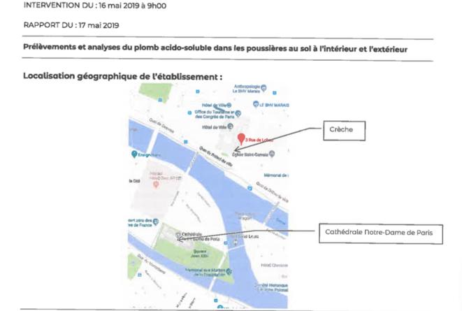 Rapport de prélèvements sur les taux de concentration au plomb dans les écoles à moins de 500 mètres de Notre-Dame, 16 mai 2019. © Service parisien de santé environnementale, Mairie de Paris.