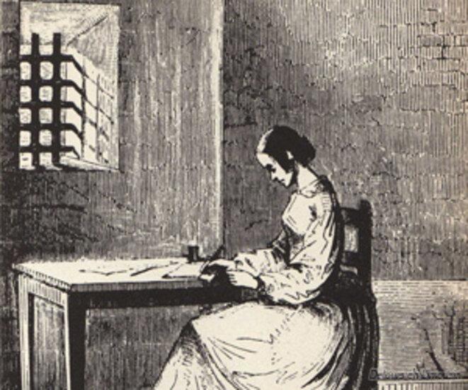 Marie Lafarge écrivant en prison