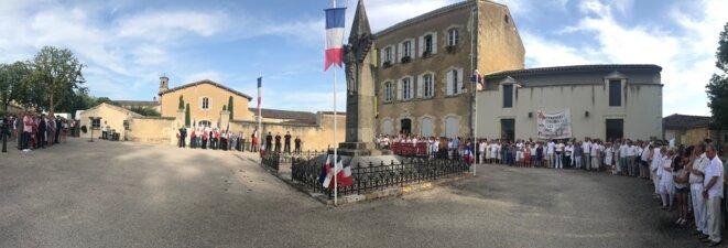 Le 13 juillet, à Lectoure, devant le Monument aux morts [Photo YF]