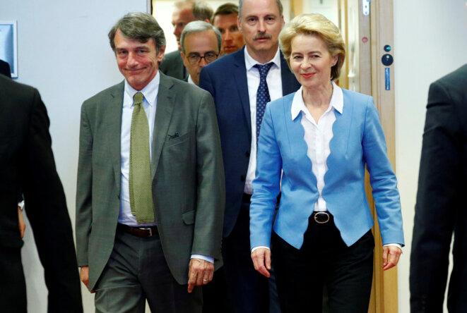 Ursula von Der Leyen le 10 juillet 2019 à Bruxelles, aux côtés du président du Parlement européen, l'Italien David Sassoli © Reuters / François Lenoir