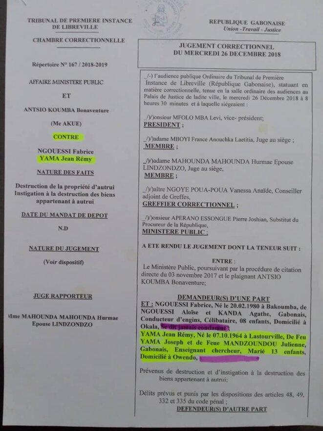 """Contre Jean Remy YAMA (Gérant) et son homme de main, Sieur NGOUESSI Fabrice : """"le délit d'instigation à la destruction des biens appartenant à autrui"""", article 49, 332 et 335 du Code pénal./doc 1"""