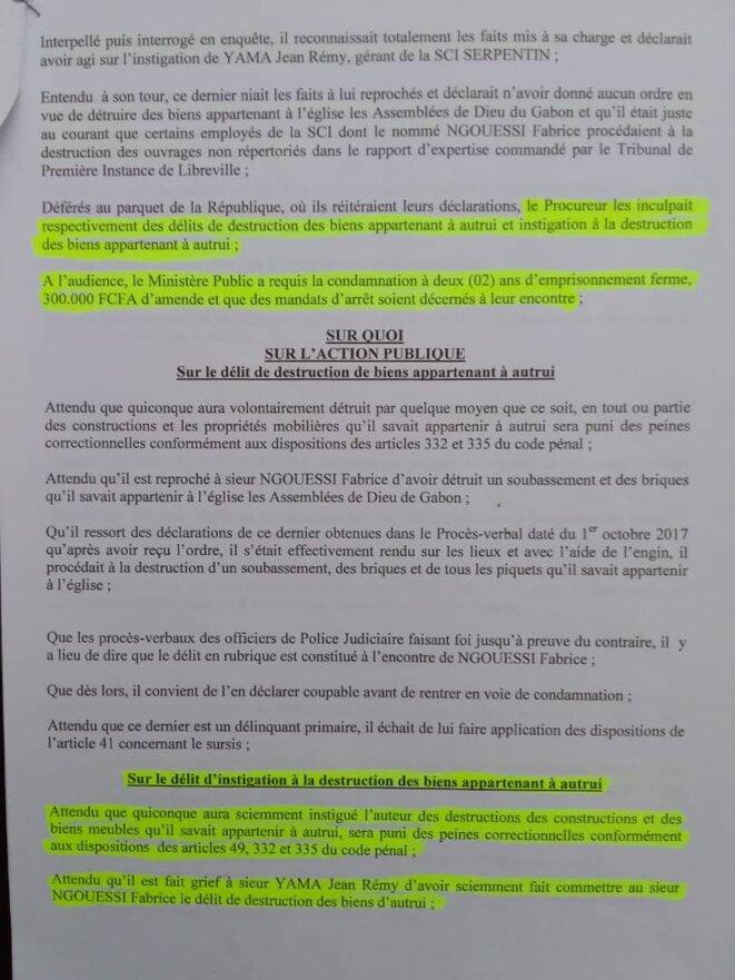 """Contre Jean Remy YAMA (Gérant) et son homme de main, Sieur NGOUESSI Fabrice : """"le délit d'instigation à la destruction des biens appartenant à autrui"""", article 49, 332 et 335 du Code pénal./doc 3"""